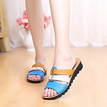 0256bbff2a3 GTVERNH Women s shoes Summer Flat Bottom Soft Bottom Middle Age Mom Cool  Slippers Spell