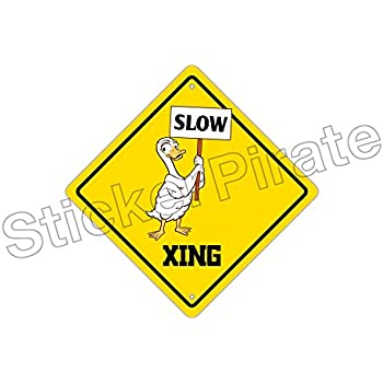 Slow Duck Crossing Funny Metal Novelty Sign Aluminum