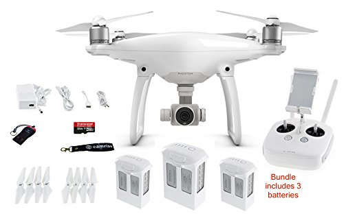 DJI PHANTOM 4 BUNDLE INCLUDES, 2 EXTRA BATTERIES, CAMRISE LANYARD, 32GB MICRO...