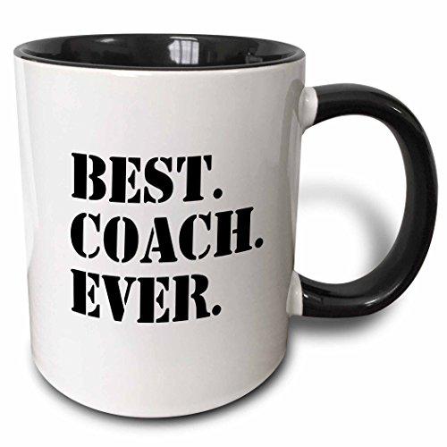 3dRose 151483_4 Best Coach Ever Mug, 11 oz, Black