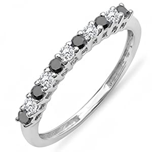 0.33 Carat (ctw) 10K White Gold Round White & Black Diamond Anniversary Stackable Wedding Band 1/3 CT (Size 7)