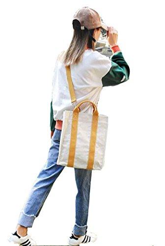 de Bolsas Diario de de de Trabajo Lona Bolso Asas Mujeres Amarillo con Mano Bolso Bolsas Hombro Negro Uso Mano Viaje Capacidad Gran Adecuado de para Bolso para Color de Escolar q1UFRvIvw