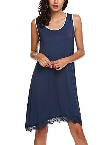 Ekouaer Womens Nightshirt Super Soft Sleep Shirt Solid Color Sleeveless Nightgown Dark Blue,Medium (Nightshirt Sleeveless)