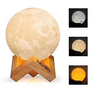 Albrillo 3D Luna Lampada Led – 10cm LED Luce Notturna con Toccare il Controllo, 3 colori e Regolabile Moon lampada, USB Rechargeable lunalight Per decorazione e regali