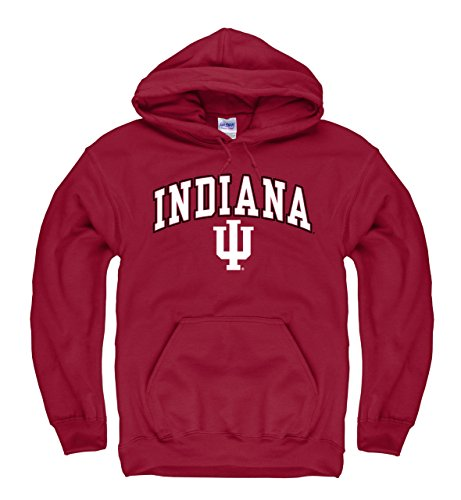 Campus Colors Indiana Hoosiers Adult Arch and Logo Hooded Sweatshirt - Crimson, ()