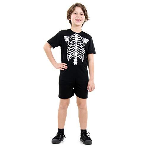 Fantasia Esqueleto Pop Infantil Sulamericana Fantasias Preto/Branco M 6/8 Anos
