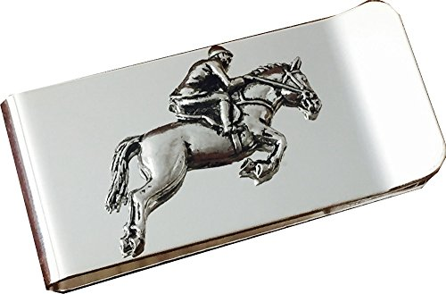 Chrome Polished Money Clip with Pewter Showjumper Showjumping Horse ()