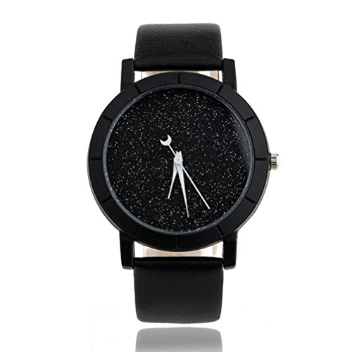 Pocciol Fashion Starry Sky Design Faux Leather Band Analog Quartz Wrist Watches Clock (Black)