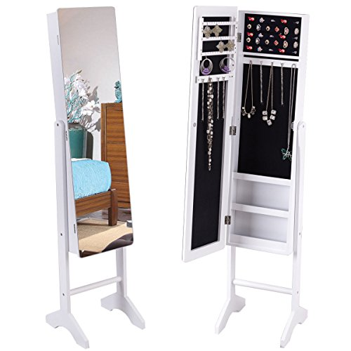 Giantex Free Standing Mirrored Jewelry Cabinet Armoire Lockable Storage Organizer Mirror Rings White (Cabinet Jewelry Mirror)