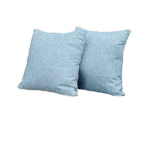 car seat Cushion Cover Light Blue,Ancient Foliage Baroque Damask Inspired Delicate Old Fashioned Revival Art,Light Blue White Cushion Cover Set of 2 24x24 INCH 2pcs ()