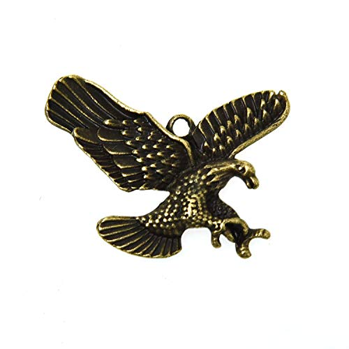 Monrocco 50Pcs Eagle Charms Metal Alloy Eagle Charms Pendants Bird Charms for DIY Jewelry Making Supply Charms Findings (Antique Bronze) (Eagle Bird Charm)