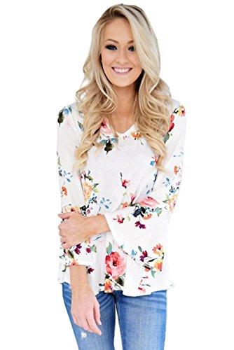 Neuf Blanc Bell Sleeve Imprimé floral col V Pull Chemisier de soirée pour femme Tenue décontractée d'été Taille UK 8EU 36