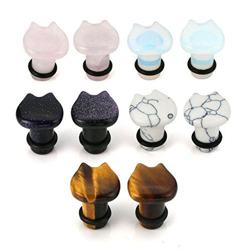 BOPREINA 5 Pairs Organic Stone Cute Cat Ear Stretching Plugs Gauge 2g - (Pink Stone Plugs)