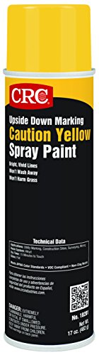 CRC Upside Down Marking Spray Paint, 17 oz Aerosol Can, Caution Yellow
