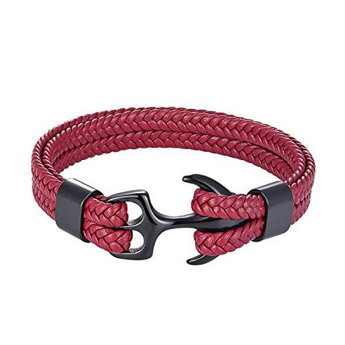 Cyan mango Stainless Steel Genuine Leather Bracelets & Bangles Fashion Vintage Anchor Bracelet for Men Women Sport Hook Male,21CM