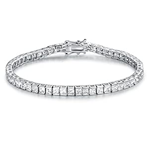 GEMSME GMESME 18K White Gold Plated Square Pricess Cut Cubic Zirconia Classic Tennis Bracelet 7.5 Inch