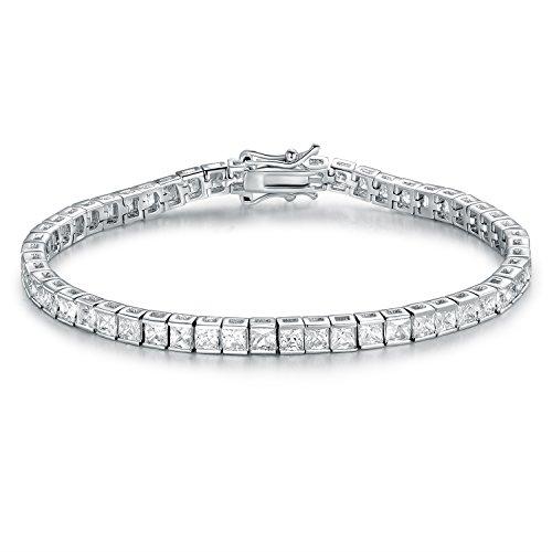 - GMESME 18K White Gold Plated Square Princess Cut Cubic Zirconia Classic Tennis Bracelet 7.5 Inch