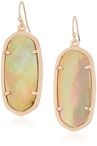 Brown Rose Earrings - Kendra Scott Signature Elle Rose Gold Plated Brown Mother-Of-Pearl Earrings