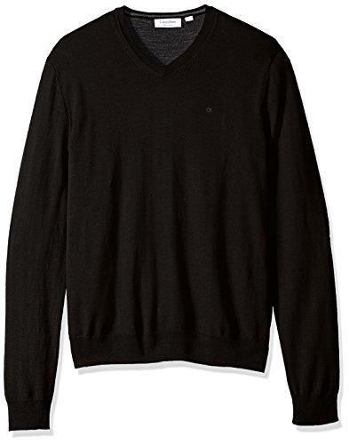 Calvin Klein Men's Merino Solid V-Neck Sweater, Black, Large - Calvin Klein Men Sweater