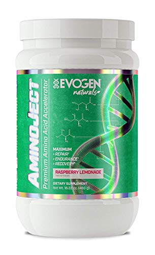 Evogen Naturals Aminoject All Natural Vegan Fermented Plant Based BCAA, Glutamine, Citrulline Powder Raspberry Lemon 30 Servings