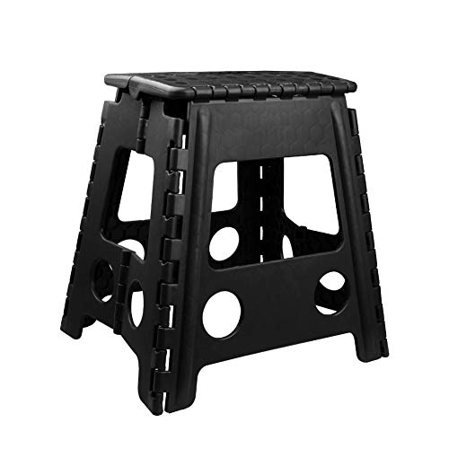 Usmascot Non-Slip Folding Step Stool, Sturdy Safe Enough - Holds up to 350 Lb - Footstool for Adults or Kids, Folding Ladder Storage/Opens Easy, for Kitchen,Toilet,Camping ect. (Black, XXL) ()