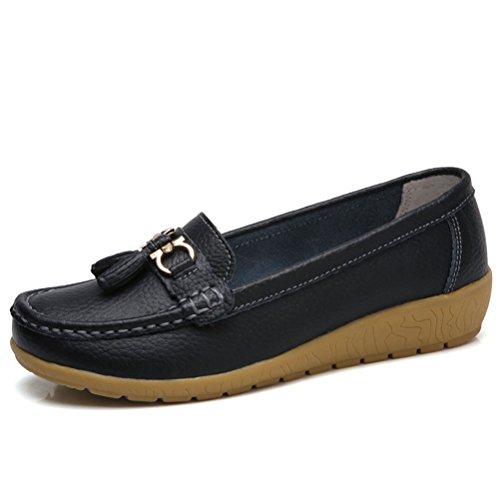 Mordenmiss Women's Wedge Nurse Shoes Tassel Penny Loafers Driving Flat Black