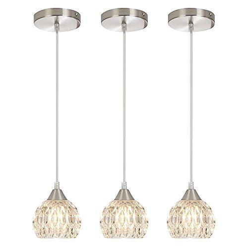 SOTTAE Modern Style Hanging Light Fixture 59.05'' Cord Adjustable Bar Kitchen Pendant Light, Ceiling Light With Glass Shade( 3 packs) (Bar Lights Ceiling)