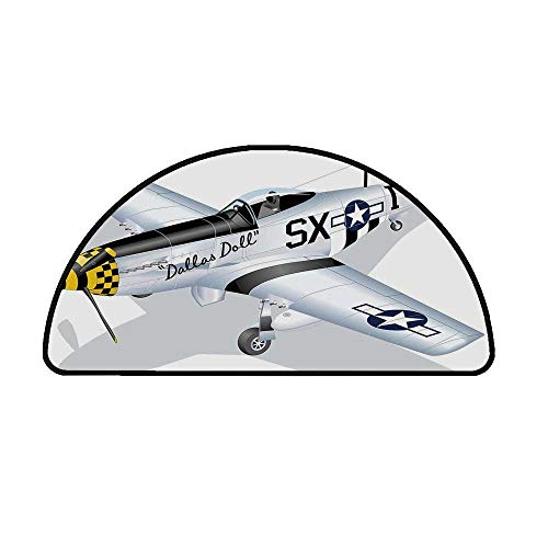 Vintage Airplane Decor Comfortable Semicircle Mat,P 51 Mustang Dallas Doll Detailed Illustration American Air Force Decorative for Living Room,29.5