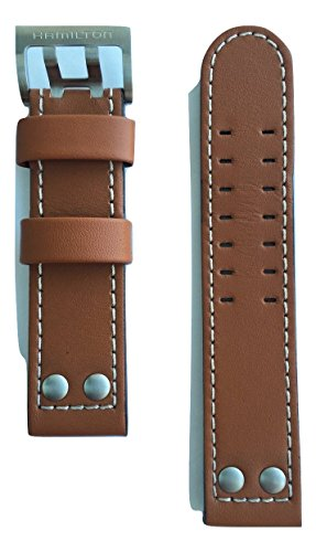 Hamilton Brown Leather (Authentic Hamilton Khaki X-Wind Brown Leather Strap Band for Watch H77616533)