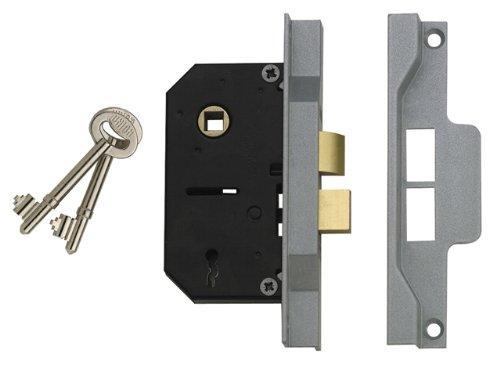 Visi Pack Silver Enamel Union Locks 2242 2 Lever Mortice Rebated Sash Lock 78.5mm
