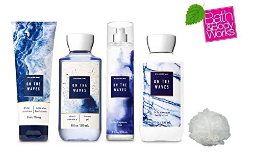 Bath and Body Works ON THE WAVES Deluxe Gift Set Lotion ~ Cream ~ Fragrance Mist ~ Shower Gel + FREE Shower Sponge Lot of 5 ()