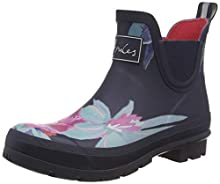 Joules Women's Wellibob Rain Boot, Navy Florals, 10 Medium US