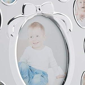 Relaxdays Babybilderrahmen, First Year, Monatsbilderrahmen Alu, 12 Monate, Zum Aufstellen, Weiß Nursery Picture Frame for 13, Month Aluminium Photo Calendar, 29 x 24 cm, Display Collage, White, std