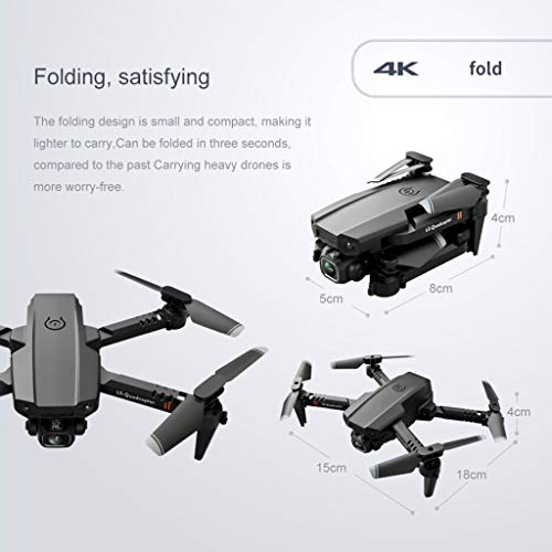JueNi LS-XT6 WiFi FPV Mini Aerial Photography Drone with 4K Dual HD Camera Live Video, Foldable Remote Control Quadcopter and Adjustable Camera Angle for Beginners, Color Box Version(Black)