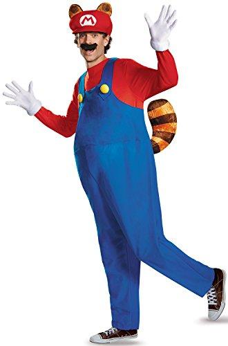 Disguise Men's Super Mario Raccoon Deluxe Costume, Red, X-Large
