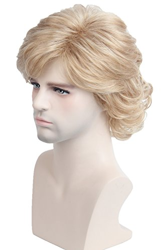 Cosplay Wig Short Natural Wave Style Layered Halloween Synthetic Fiber Hair Wigs for Women Men (Brown Blonde)