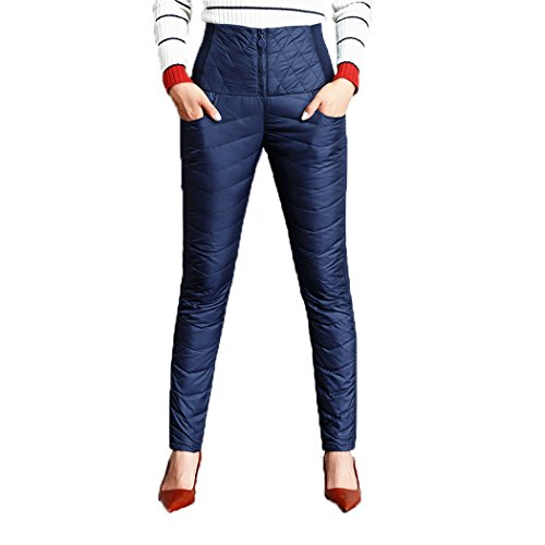 Packitcute Womens High Waist Down Pants Thickening Thermal Oversize Two Sides Wear