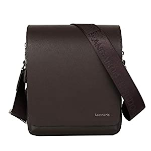 Leathario Men's Leather Shoulder Bag 11 inch iPad Bag Cross Body Tablet Small Messenger Business Casual Travel Daily Brown