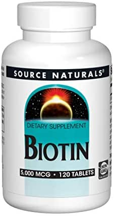 Source Naturals Biotin 5,000mcg High Potency B Vitamin Nutrients Support Healthy Hair, Skin & Nails - Maximum Strength Biotin Deficiency Supplement - 120 Tablets