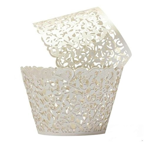 [Cupcake Wrappers 100 Filigree Artistic Bake Cake Paper Cups Little Vine Lace Laser Cut Liner Baking Cup Muffin Case Trays for Wedding Party Birthday Decoration (Cream] (Easy Decorated Halloween Cupcakes)