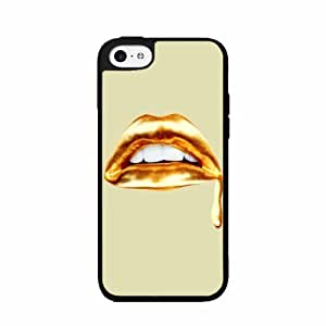 Sexy Gold Lips Plastic Phone Case Back Cover iPhone 5c