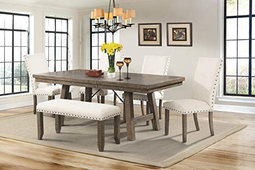 (Picket House Furnishings Dex 6 Piece Dining Set in Walnut and Cream)