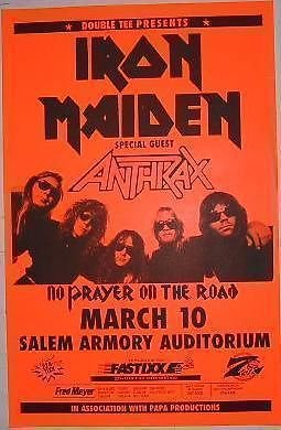 Iron Maiden Anthrax 1990 Salem Armory Concert Poster