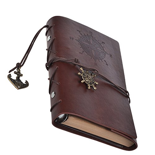 [Cosmos Vintage Classic PU Leather Notebook for Diary, Travel journal and Note, Dark Brown (NB2)] (Brown Leather Journal)
