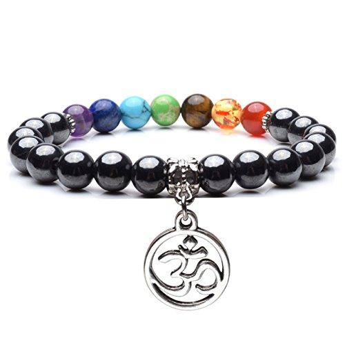 Jovivi Black Magnetic Hematite 7 Chakra Healing Balancing Therapy Energy Crystal Stretch Beads Bracelet
