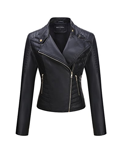 Bellivera Womens Faux Leather Short Jacket, Black54, Small ()