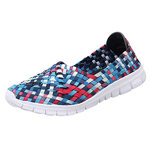 TnaIolral 2019 Women Breathable Shoes Flats Beach Shoes Woven Summer Running Shoes (US:7.5, Blue)