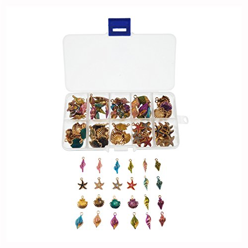 Enamel Shell (Julie Wang 80pcs/Box Multi-Colors Enamel Alloy Shell Couch SeaStar Charms Pendants Jewelry Making DIY Accessories Crafts)