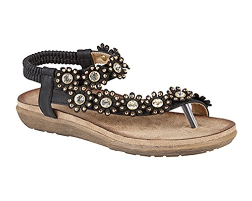 Womens Jewelled Strappy Strap Toe Post Summer Sandals Black aBGnr