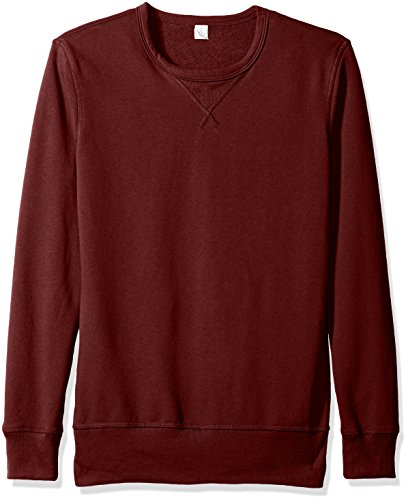 Side Terry - Alternative Men's Vintage Sport French Terry B-Side Reversible Crew Neck, Maroon, XL